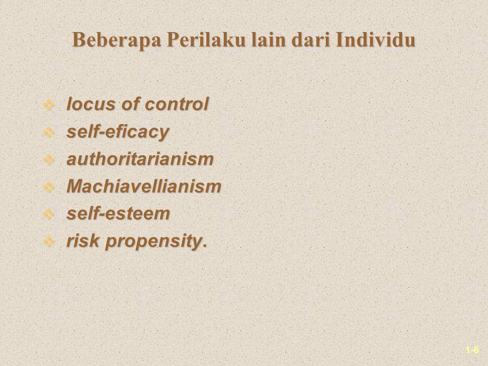 Beberapa Perilaku lain dari Individu
