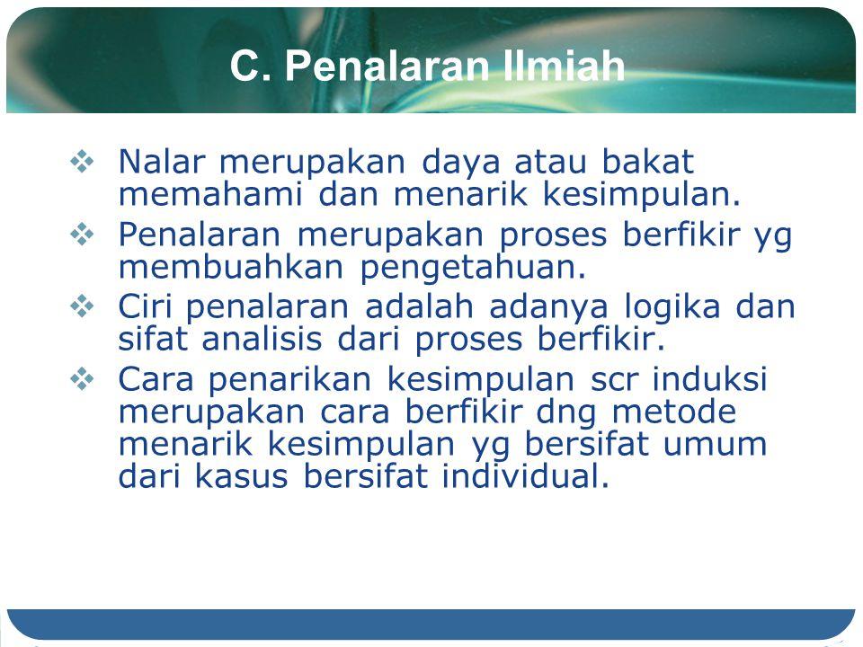 C. Penalaran Ilmiah Nalar merupakan daya atau bakat memahami dan menarik kesimpulan. Penalaran merupakan proses berfikir yg membuahkan pengetahuan.