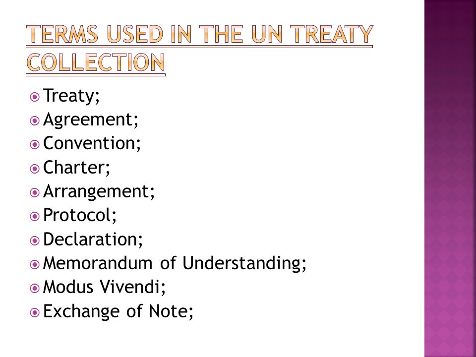 Terms used in the UN Treaty Collection