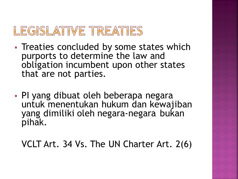 Legislative treaties