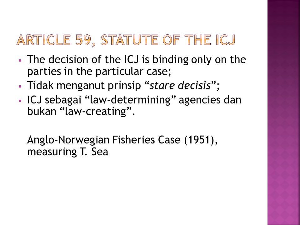Article 59, Statute of the ICJ