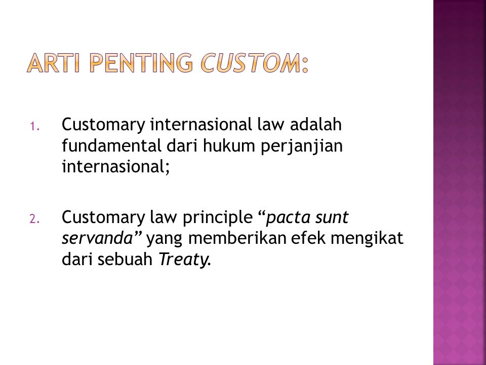 Arti penting Custom: Customary internasional law adalah fundamental dari hukum perjanjian internasional;