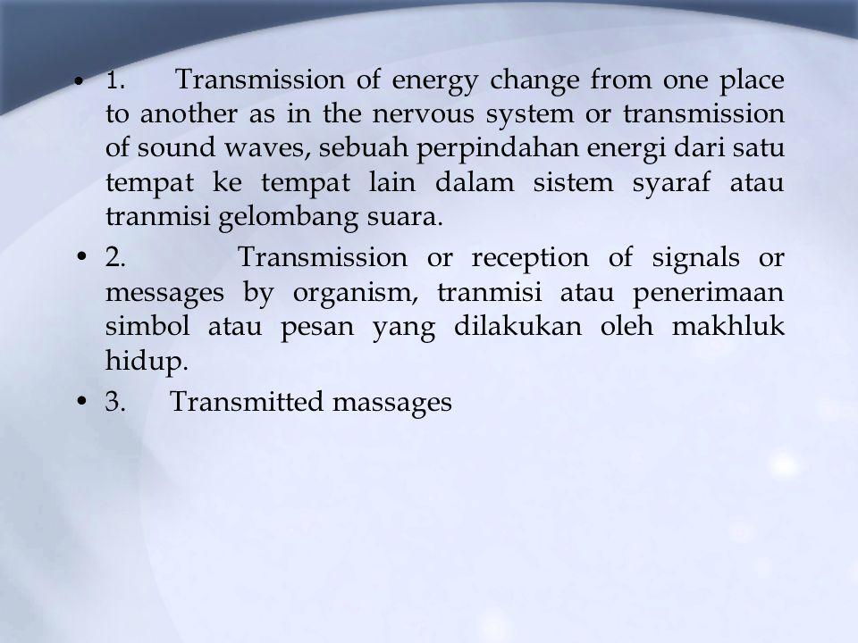1. Transmission of energy change from one place to another as in the nervous system or transmission of sound waves, sebuah perpindahan energi dari satu tempat ke tempat lain dalam sistem syaraf atau tranmisi gelombang suara.