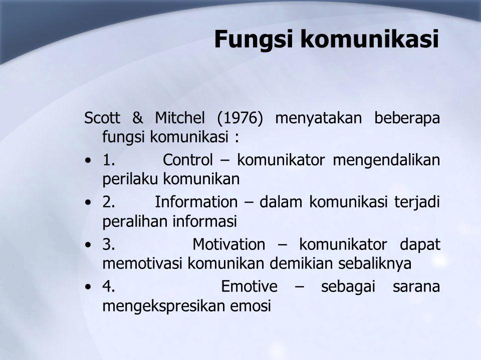 Fungsi komunikasi Scott & Mitchel (1976) menyatakan beberapa fungsi komunikasi : 1. Control – komunikator mengendalikan perilaku komunikan.