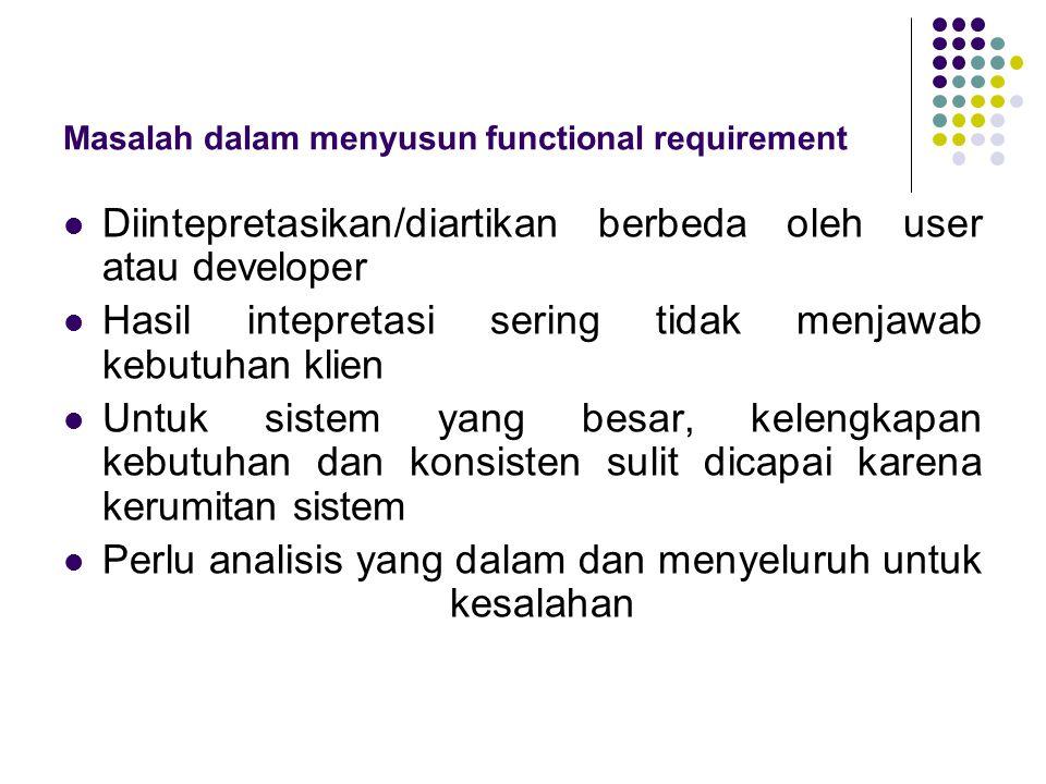 Masalah dalam menyusun functional requirement