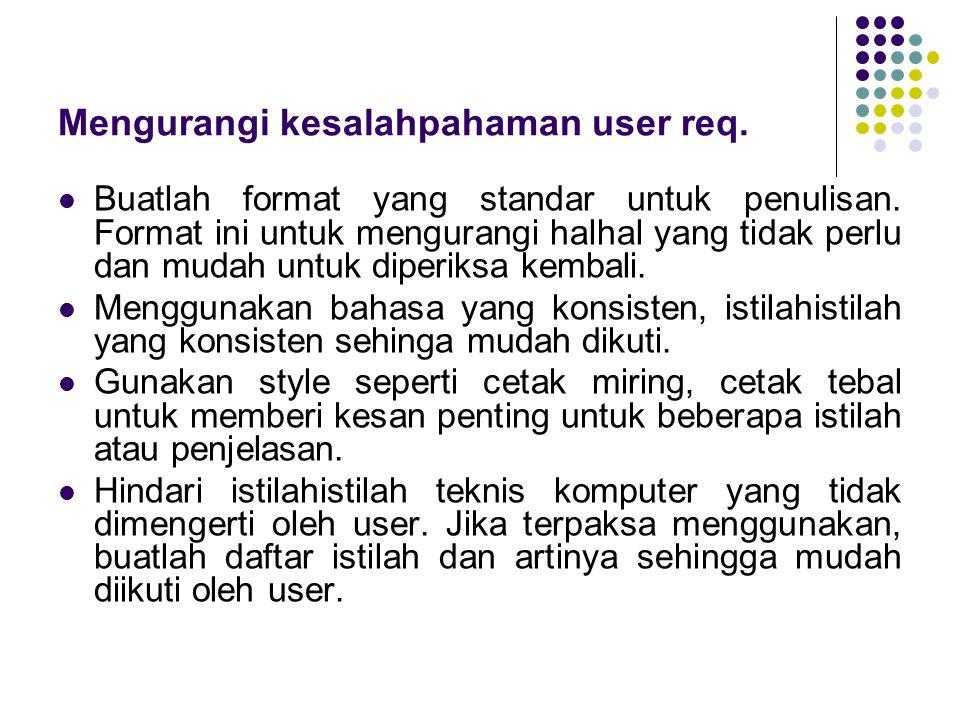 Mengurangi kesalahpahaman user req.