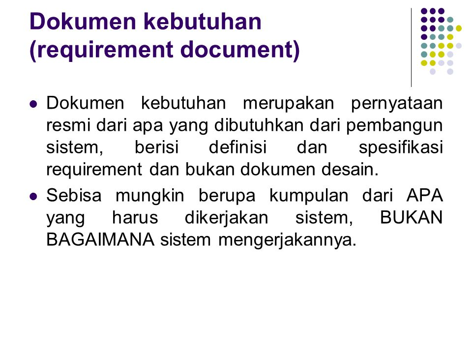 Dokumen kebutuhan (requirement document)