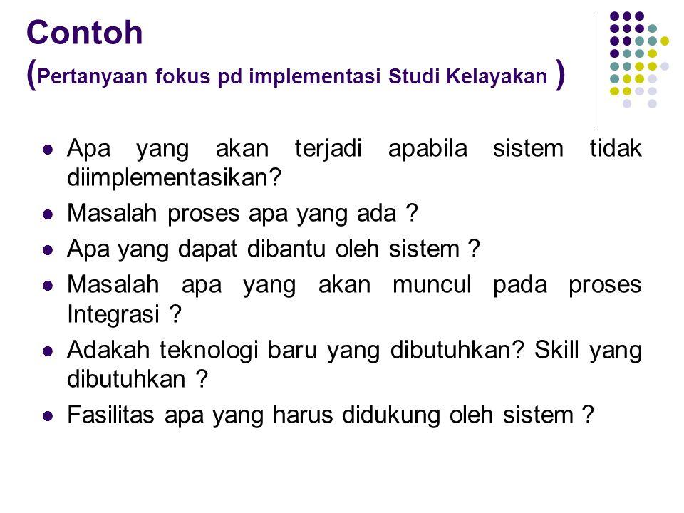 Contoh (Pertanyaan fokus pd implementasi Studi Kelayakan )
