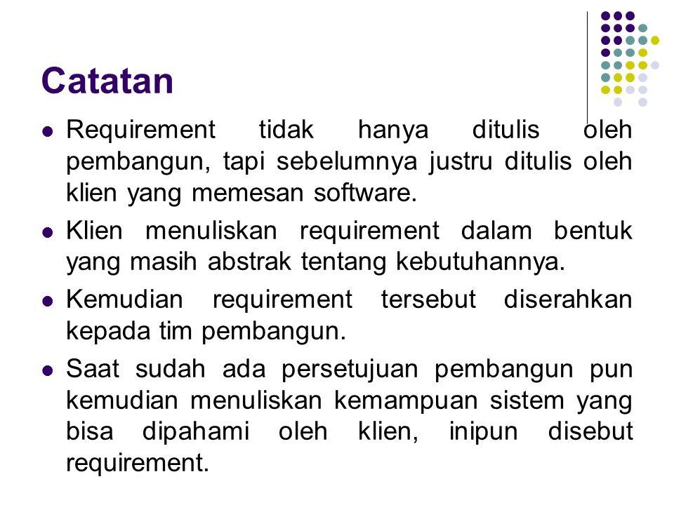 Catatan Requirement tidak hanya ditulis oleh pembangun, tapi sebelumnya justru ditulis oleh klien yang memesan software.