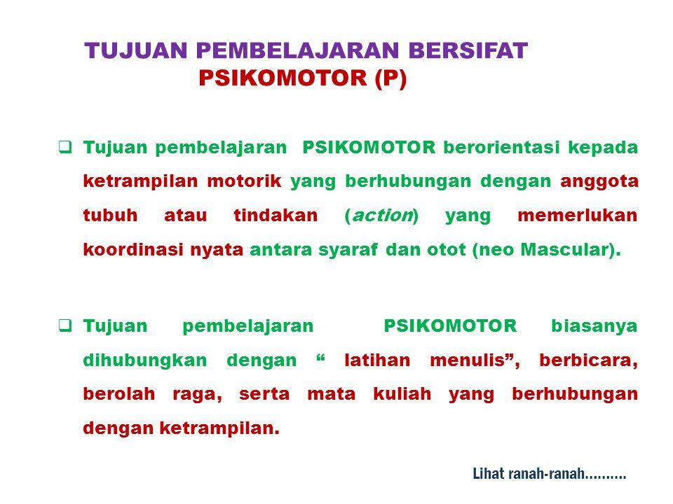 TUJUAN PEMBELAJARAN BERSIFAT PSIKOMOTOR (P)