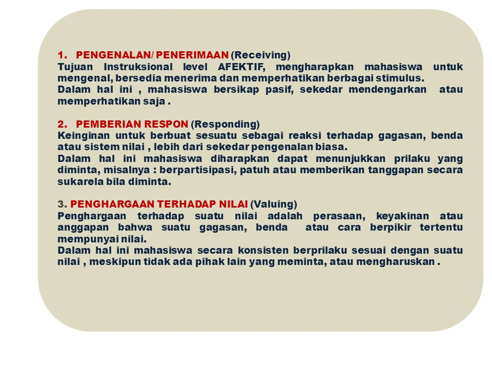 PENGENALAN/ PENERIMAAN (Receiving)