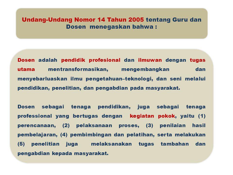Undang-Undang Nomor 14 Tahun 2005 tentang Guru dan Dosen menegaskan bahwa :