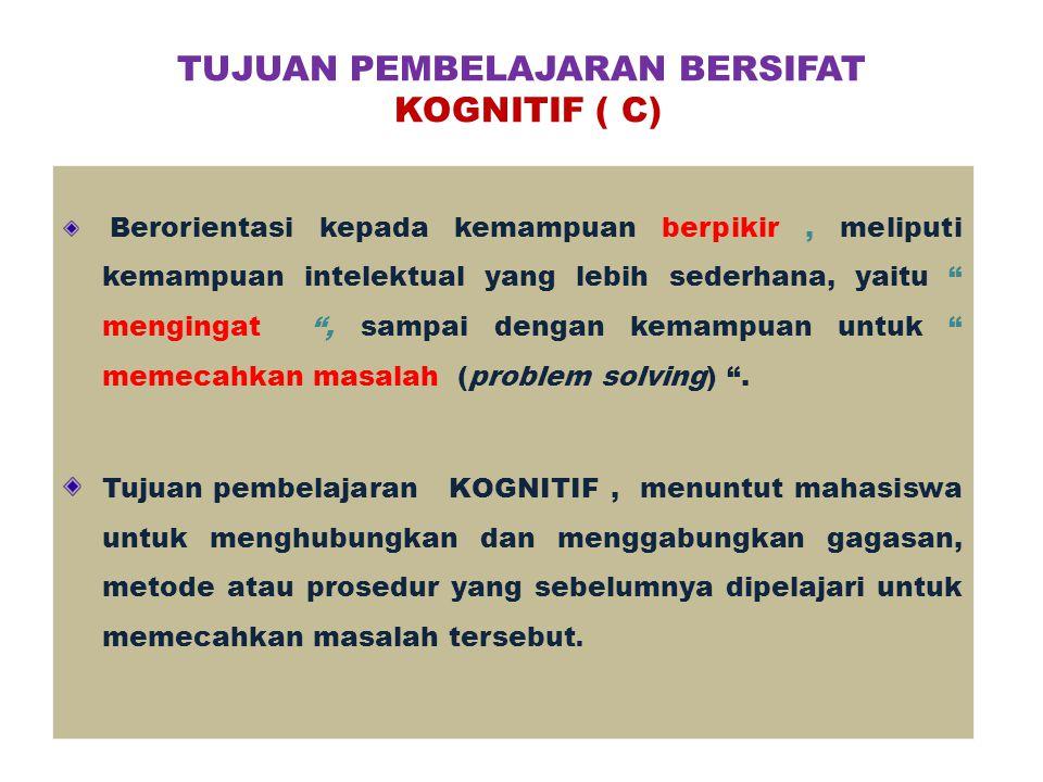 TUJUAN PEMBELAJARAN BERSIFAT KOGNITIF ( C)