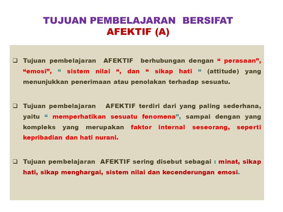 TUJUAN PEMBELAJARAN BERSIFAT AFEKTIF (A)