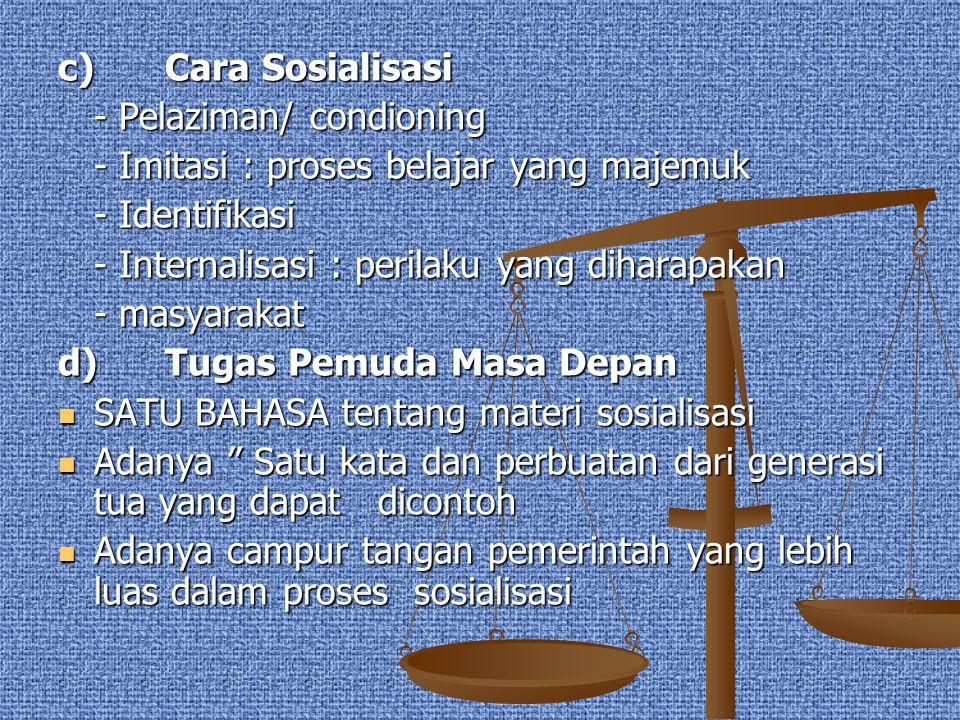 c) Cara Sosialisasi - Pelaziman/ condioning. - Imitasi : proses belajar yang majemuk. - Identifikasi.