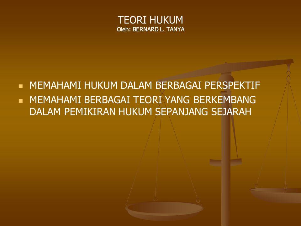 TEORI HUKUM Oleh: BERNARD L. TANYA