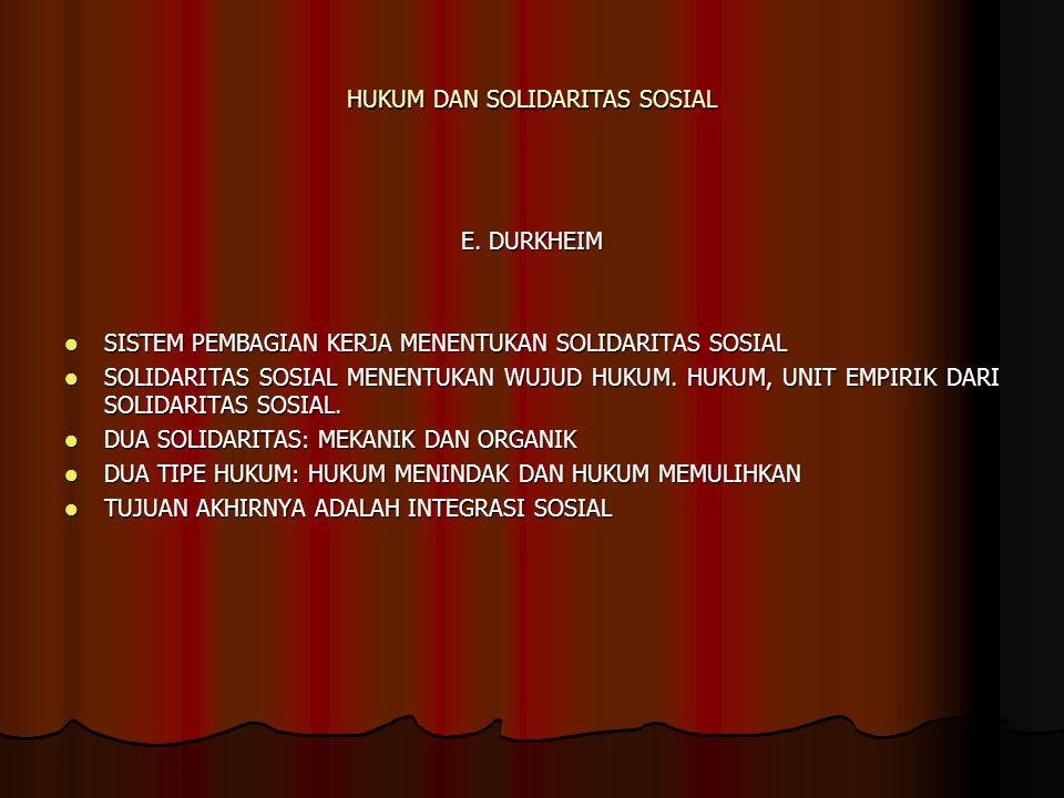 HUKUM DAN SOLIDARITAS SOSIAL