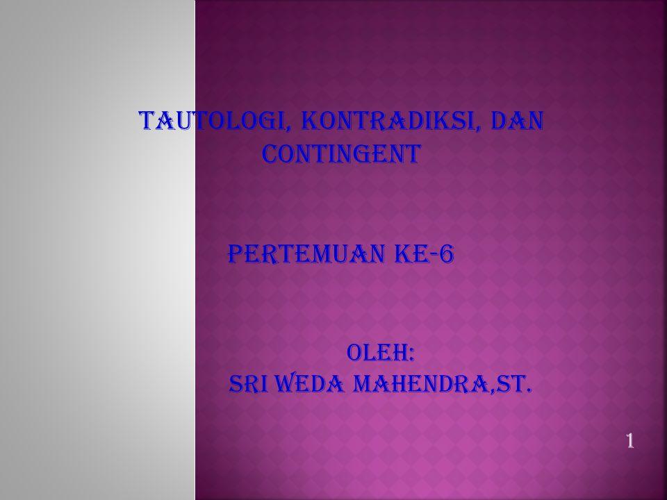TAUTOLOGI, KONTRADIKSI, DAN CONTINGENT