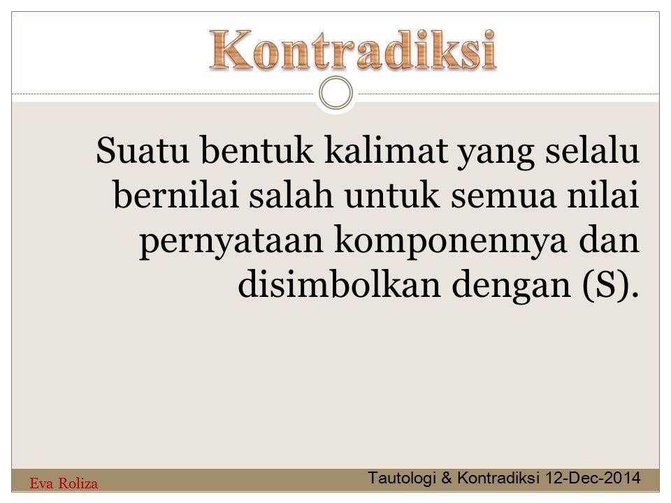 Kontradiksi Suatu bentuk kalimat yang selalu bernilai salah untuk semua nilai pernyataan komponennya dan disimbolkan dengan (S).
