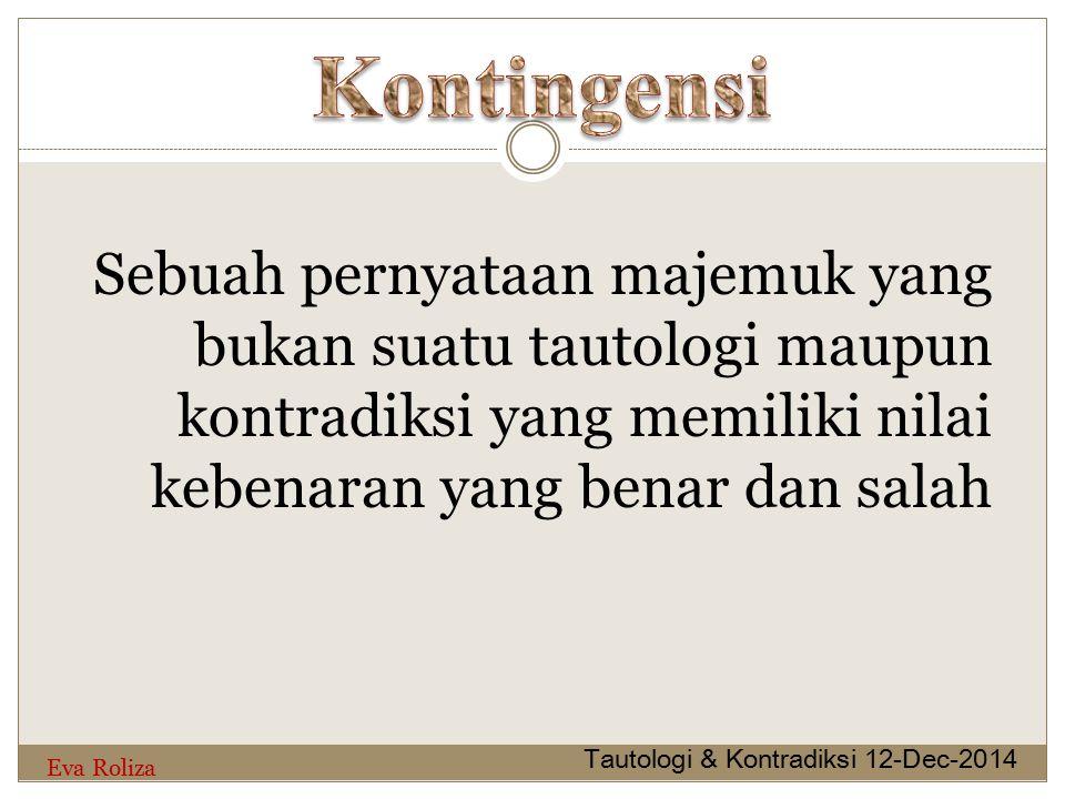 Kontingensi Sebuah pernyataan majemuk yang bukan suatu tautologi maupun kontradiksi yang memiliki nilai kebenaran yang benar dan salah.