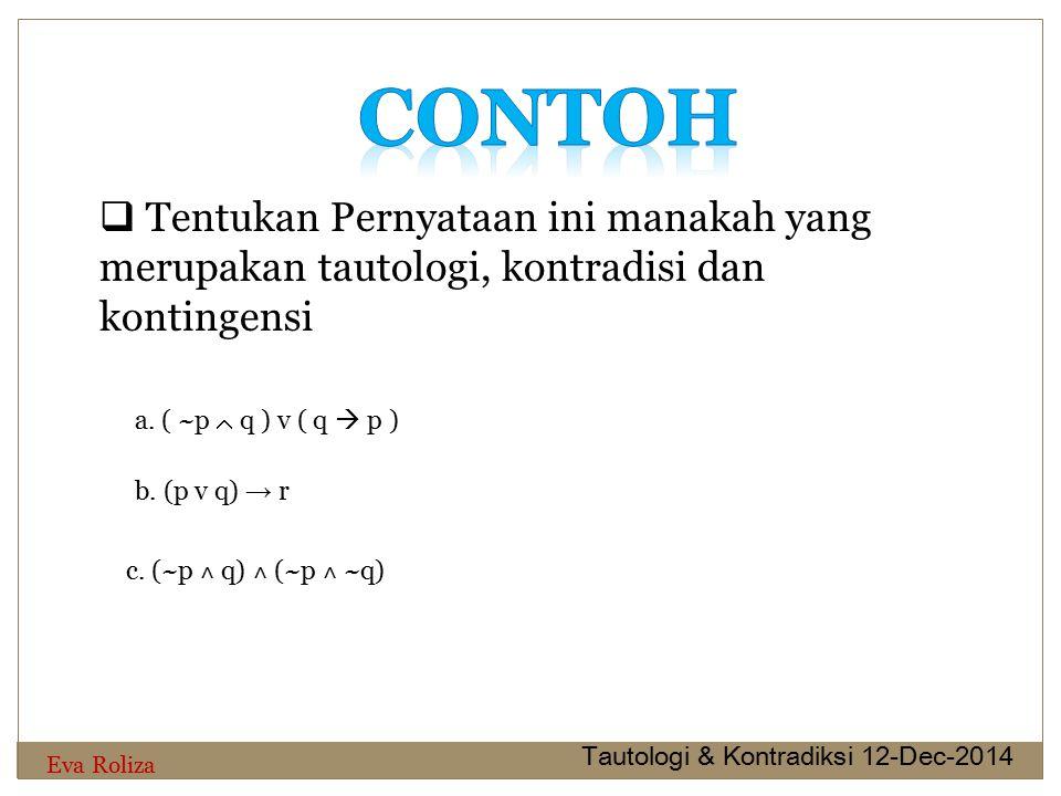 Contoh Tentukan Pernyataan ini manakah yang merupakan tautologi, kontradisi dan kontingensi. a. ( ~p  q ) v ( q  p )