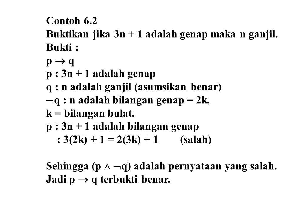 Contoh 6.2 Buktikan jika 3n + 1 adalah genap maka n ganjil. Bukti : p  q. p : 3n + 1 adalah genap.