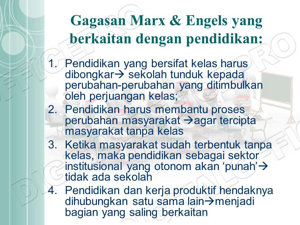 Gagasan Marx & Engels yang berkaitan dengan pendidikan: