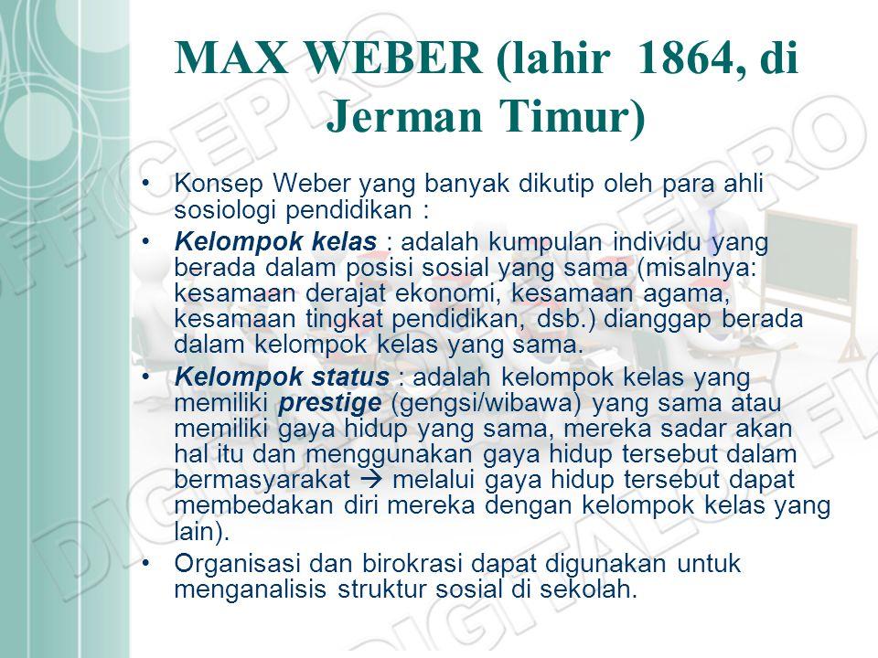 MAX WEBER (lahir 1864, di Jerman Timur)