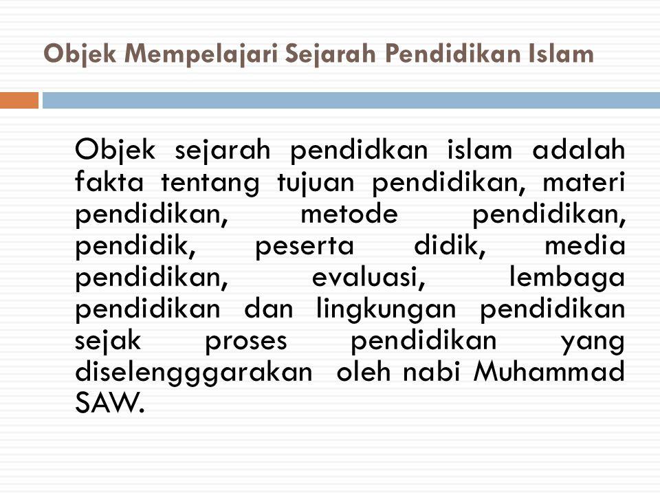 Objek Mempelajari Sejarah Pendidikan Islam