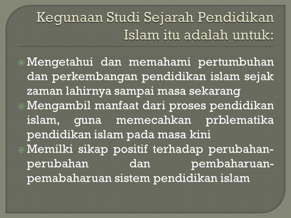 Kegunaan Studi Sejarah Pendidikan Islam itu adalah untuk: