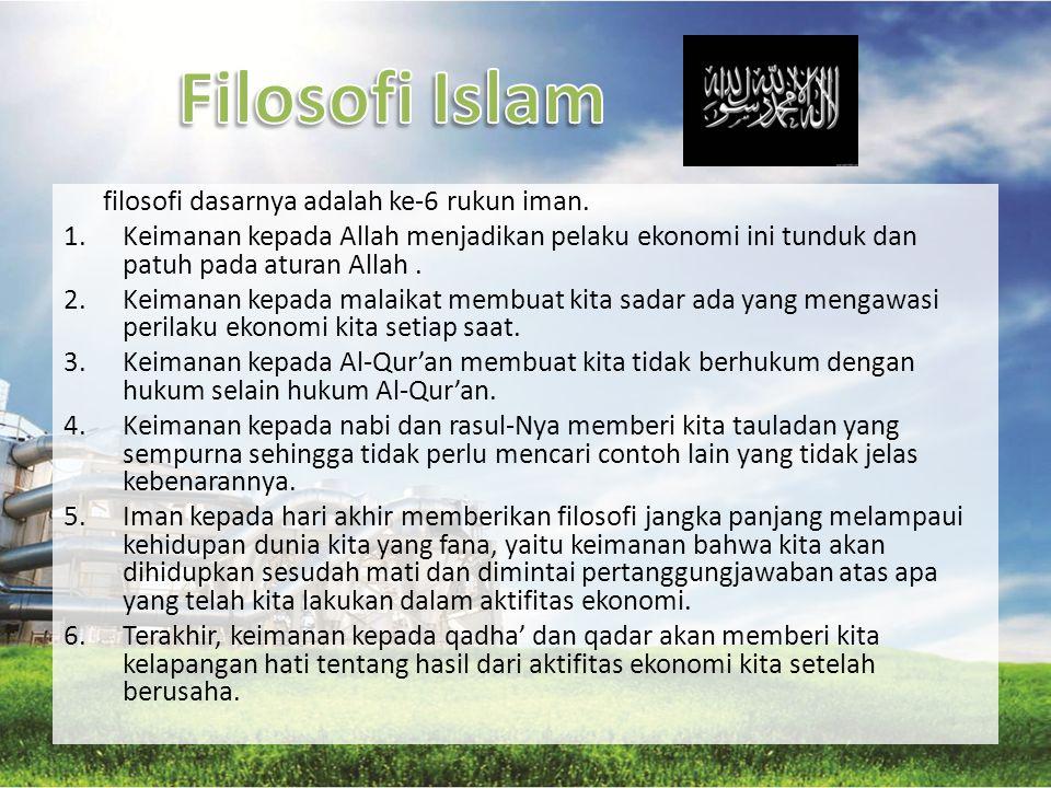 Filosofi Islam filosofi dasarnya adalah ke-6 rukun iman.