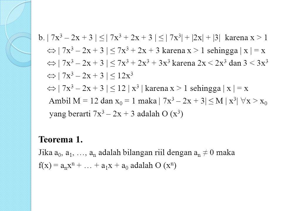 b. | 7x3 – 2x + 3 | ≤ | 7x3 + 2x + 3 | ≤ | 7x3| + |2x| + |3| karena x > 1