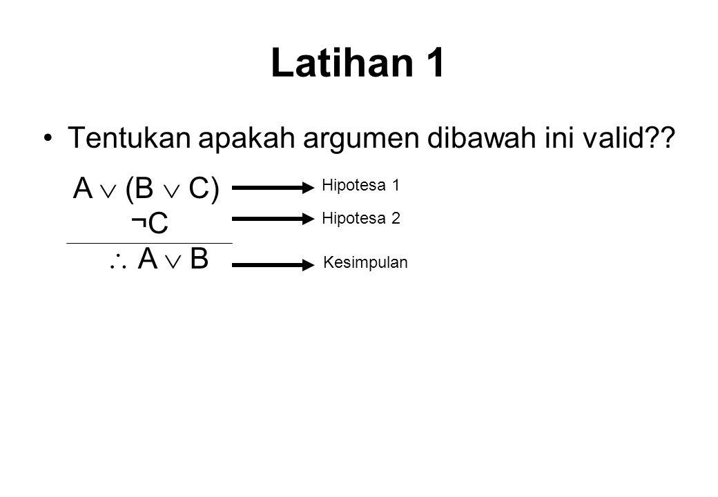 Latihan 1 Tentukan apakah argumen dibawah ini valid A  (B  C) ¬C