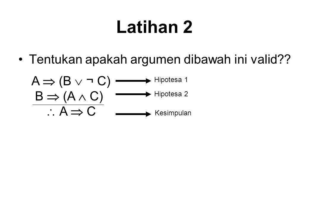 Latihan 2 Tentukan apakah argumen dibawah ini valid A  (B  ¬ C)