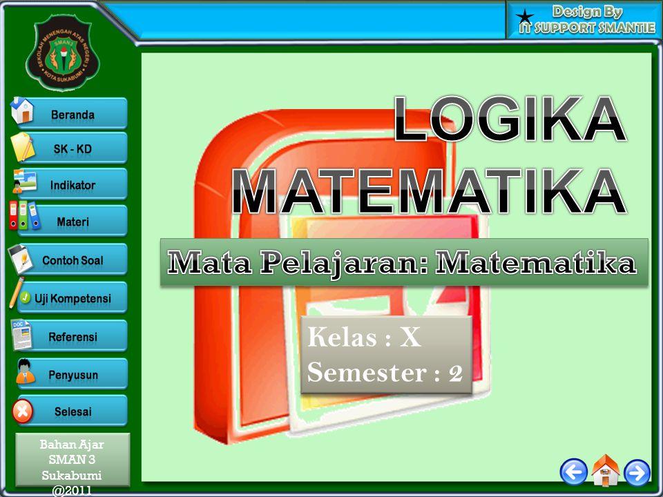 LOGIKA MATEMATIKA Mata Pelajaran: Matematika Kelas : X Semester : 2