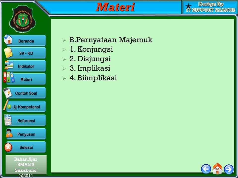 Materi B.Pernyataan Majemuk 1. Konjungsi 2. Disjungsi 3. Implikasi