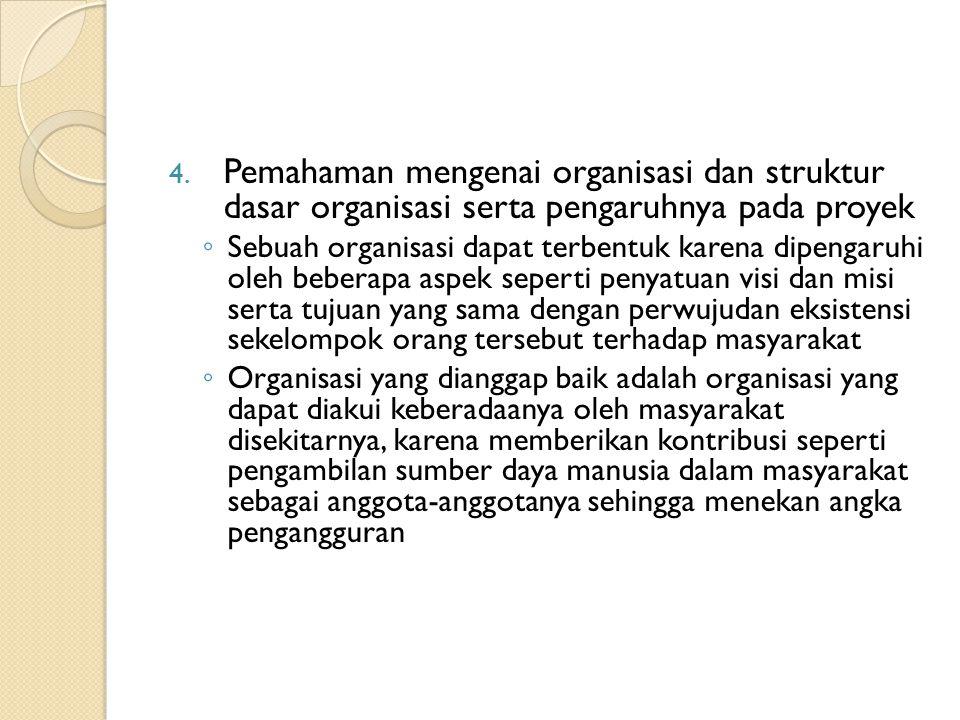 Pemahaman mengenai organisasi dan struktur dasar organisasi serta pengaruhnya pada proyek