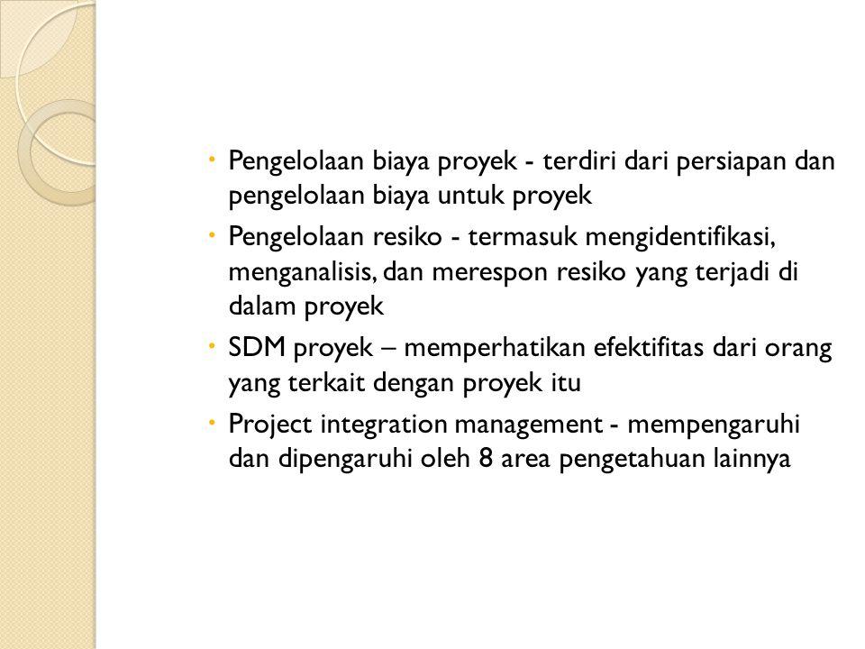 Pengelolaan biaya proyek - terdiri dari persiapan dan pengelolaan biaya untuk proyek