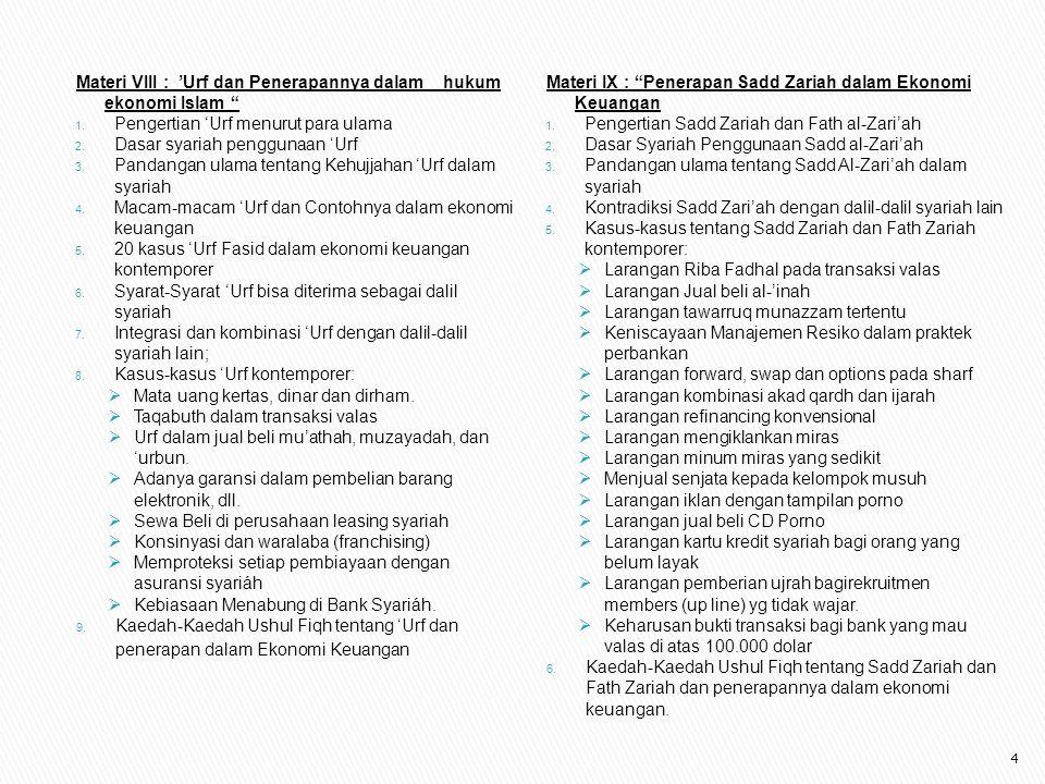 Materi VIII : 'Urf dan Penerapannya dalam hukum ekonomi Islam