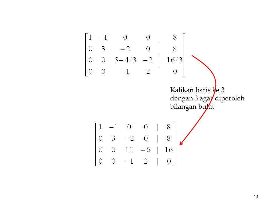 Kalikan baris ke 3 dengan 3 agar diperoleh bilangan bulat