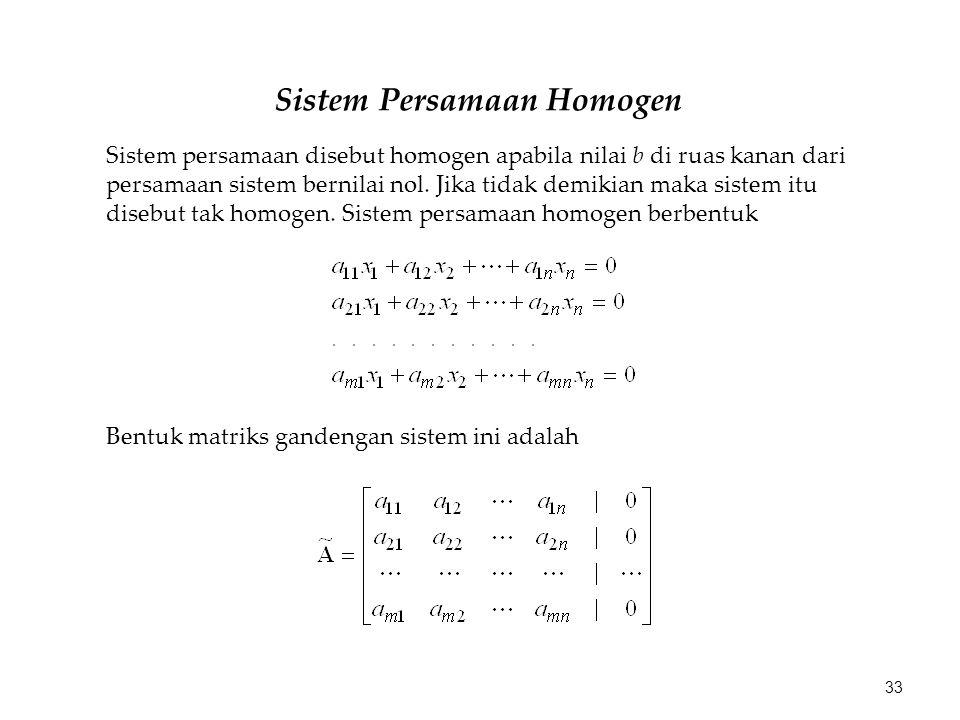 Sistem Persamaan Homogen