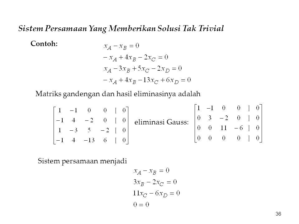 Sistem Persamaan Yang Memberikan Solusi Tak Trivial