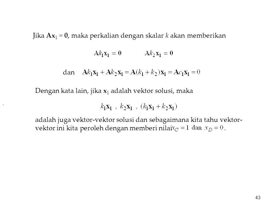 Jika Ax1 = 0, maka perkalian dengan skalar k akan memberikan
