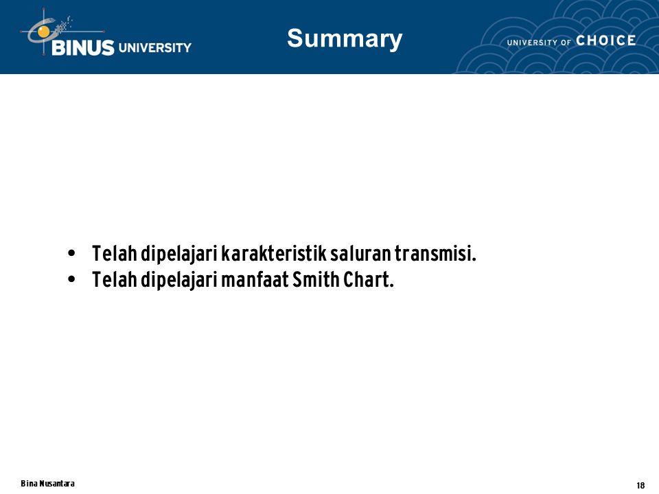 Summary Telah dipelajari karakteristik saluran transmisi.