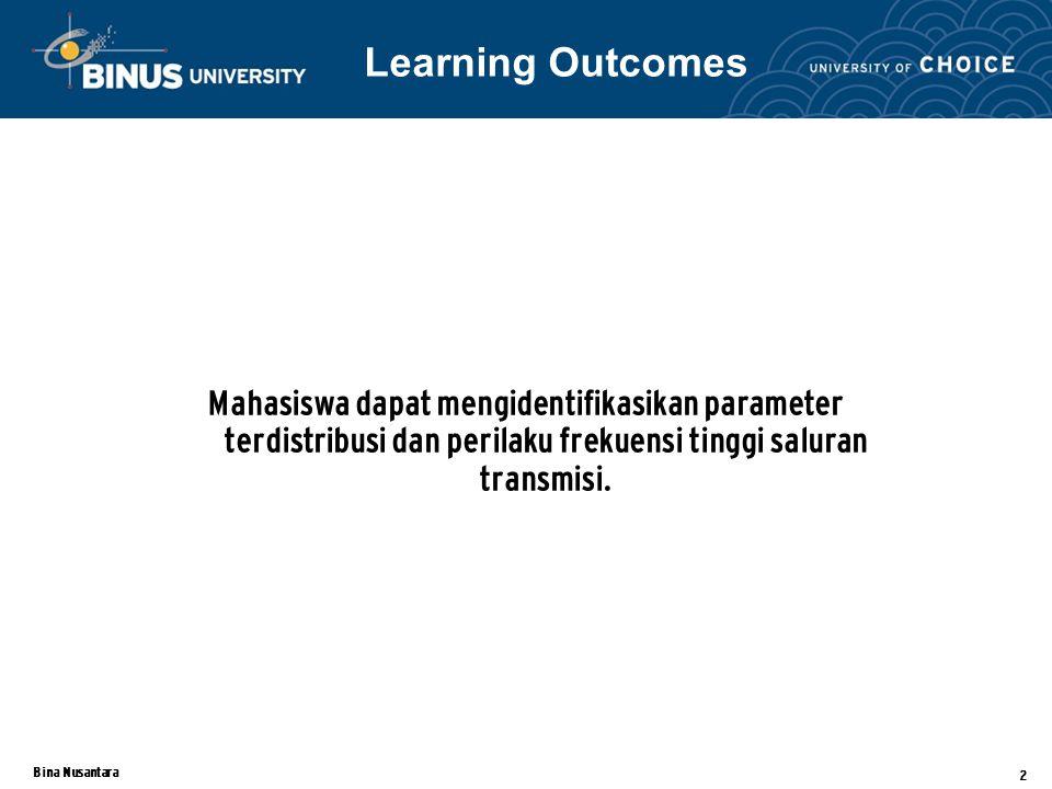 Learning Outcomes Mahasiswa dapat mengidentifikasikan parameter terdistribusi dan perilaku frekuensi tinggi saluran transmisi.