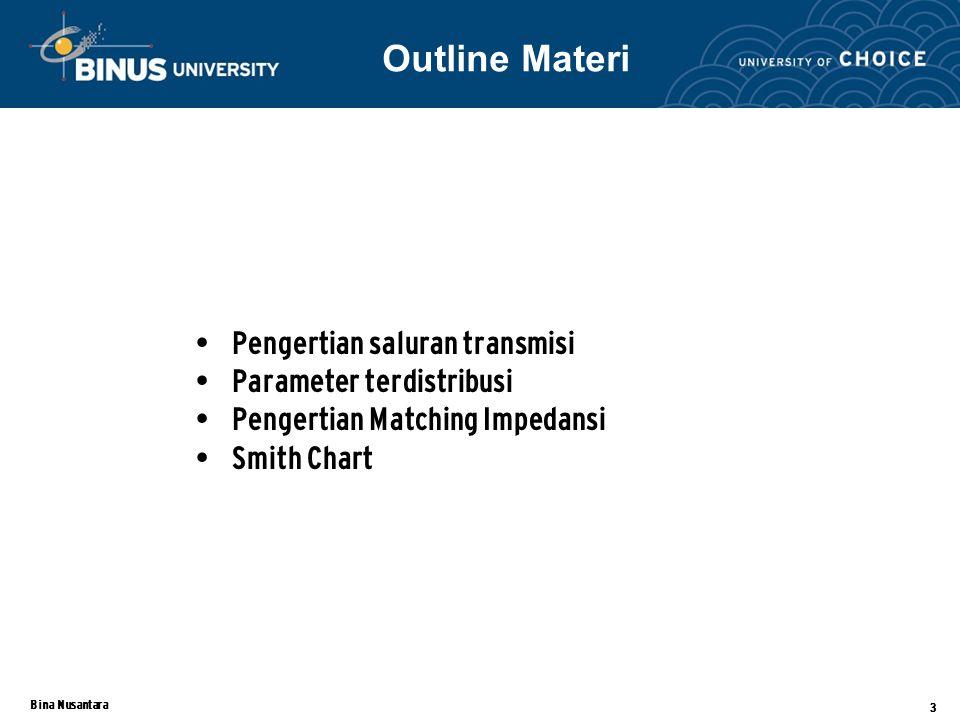Outline Materi Pengertian saluran transmisi Parameter terdistribusi