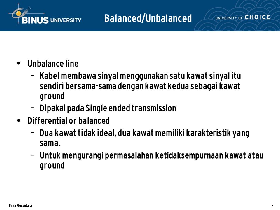 Balanced/Unbalanced Unbalance line