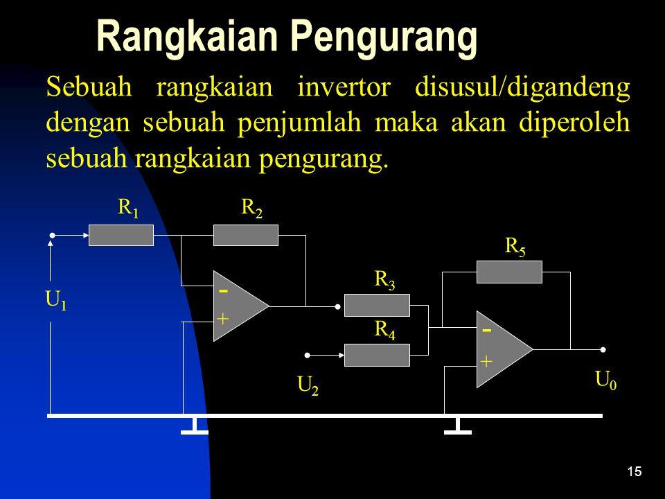 Rangkaian Pengurang Sebuah rangkaian invertor disusul/digandeng dengan sebuah penjumlah maka akan diperoleh sebuah rangkaian pengurang.