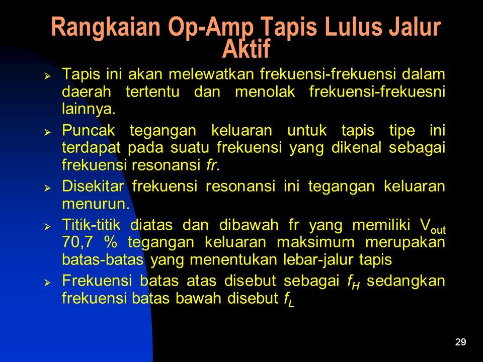 Rangkaian Op-Amp Tapis Lulus Jalur Aktif