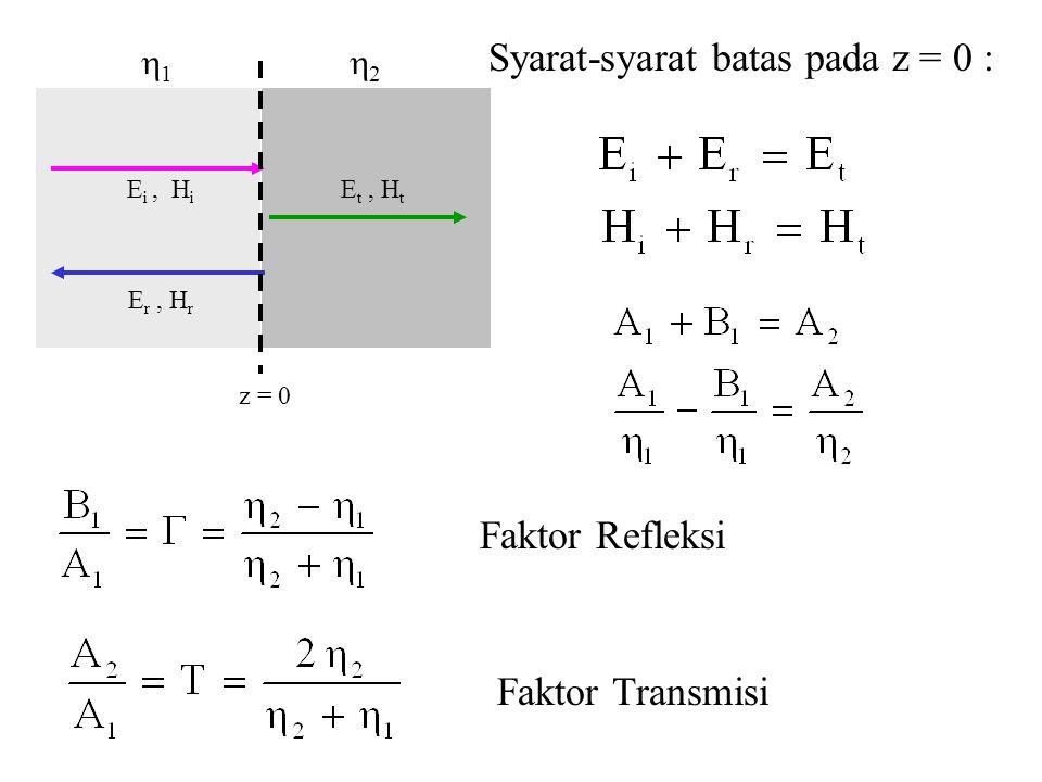 Syarat-syarat batas pada z = 0 :